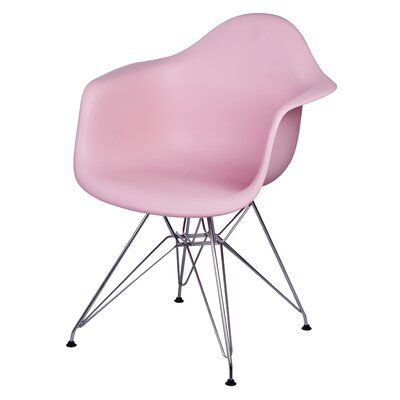 Carl Arm Chair with Metal Wire Legs Finish: Pink