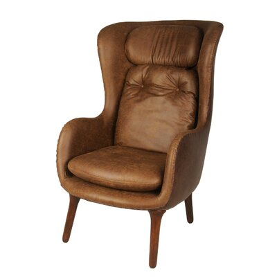 Ellison Cushioned Wingback Chair Upholstery: Nubuck Brown/Distressed Coffee