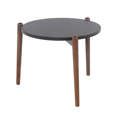 Cayeman Recycled Leather Round End Table