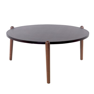 Cayeman Recycled Leather Round Coffee Table