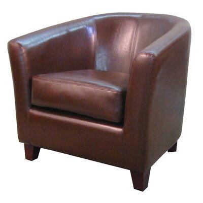 Teesha Solid Barrel Chair Upholstery: Saddle Brown