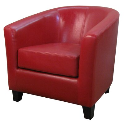 Teesha Solid Barrel Chair Upholstery: Red