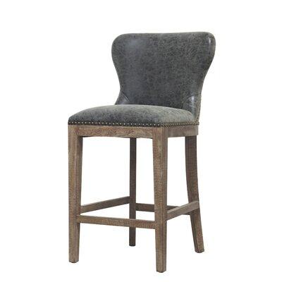 Clemons 26 Bar Stool Upholstery: Nubuck Charcoal