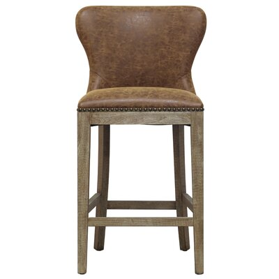 Clemons 26 Bar Stool Upholstery: Nubuck Chocolate