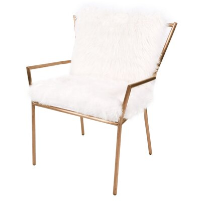 Shella Faux Fur Rose Arm Chair Upholstery: Freesia White