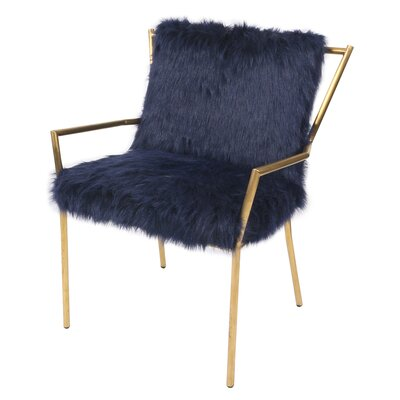 Shella Faux Fur Rose Arm Chair Upholstery: Navy Blue