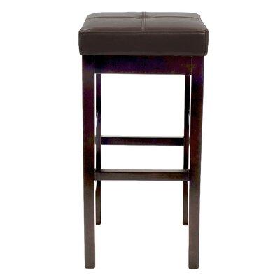 Kimberling 27 Wood Bar Stool Upholstery: Brown