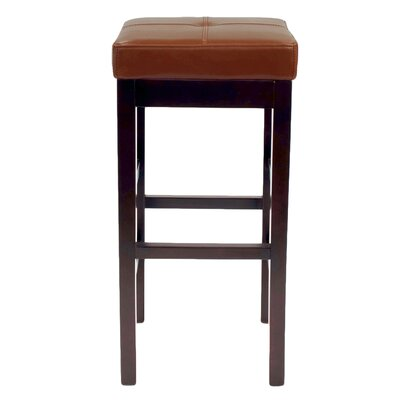 Kimberling 27 Wood Bar Stool Upholstery: Cognac