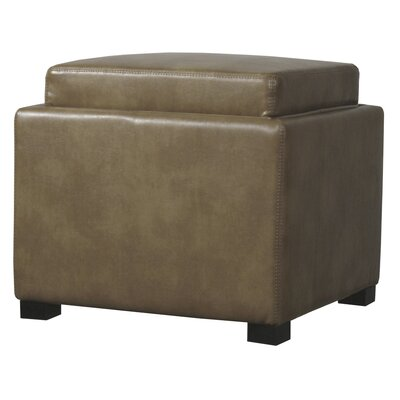 Jeddo Cube Ottoman Leather Color: Molasses