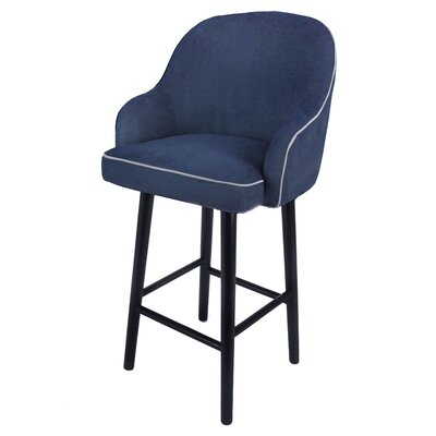 Coster Swivel Plywood Bar Stool Upholstery: Denim Slate Blue