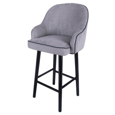 Coster Swivel Plywood Bar Stool Upholstery: Denim Dove Gray