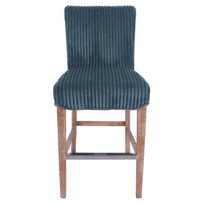 Mercer Bar Stool Upholstery: Midnight Thames Blue