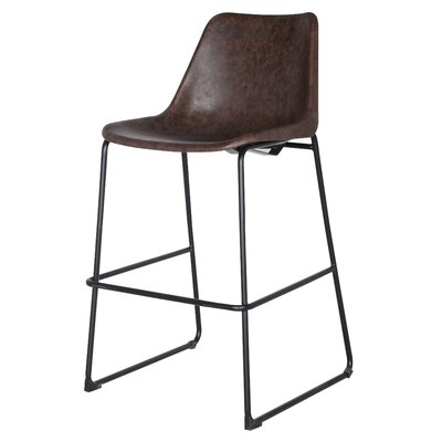 Sein Low Back Bar Stool Upholstery: Vintage Coffee Brown