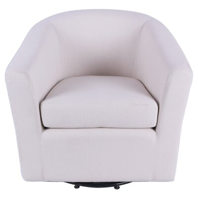 Teesha Swivel Barrel Chair Upholstery: Bright Sand Beige/Icy Leafage Beige