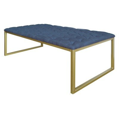 Avril Bonded Leather Rectangle Coffee Table Top Finish: Blue