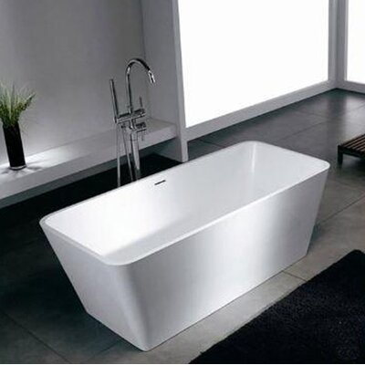 Blanc 58.25 x 26.38 Artificial Stone Freestanding Bathtub