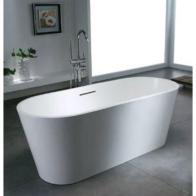 Caspian 66.88 x 27.75 Artificial Stone Freestanding Bathtub