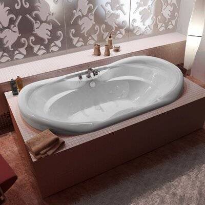 Antigua 70 x 41 Oval Whirlpool Jetted Bathtub with Waterfall Filler and Center Drain