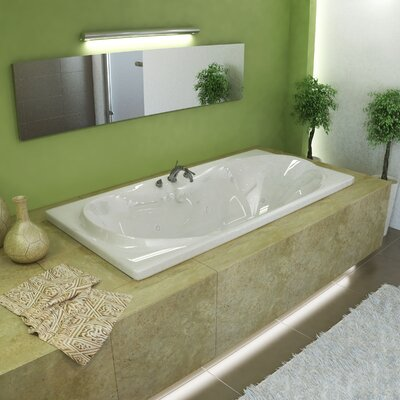 Cayman 71.38 x 41.5 Rectangular Whirlpool Jetted Bathtub with Center Drain
