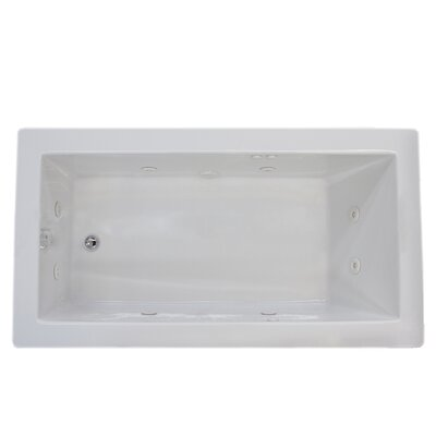 Guadalupe 72 x 42 Rectangular Whirlpool Jetted Bathtub with Drain Drain Location: Left