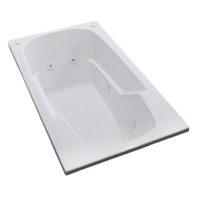 Anguilla 71 x 41.38 Rectangular Whirlpool Jetted Bathtub with Drain Drain Location: Right