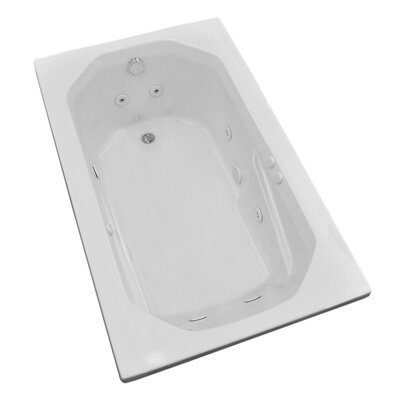 Montserrat 59.75 x 35.5 Rectangular Whirlpool Jetted Bathtub with Drain Drain Location: Left