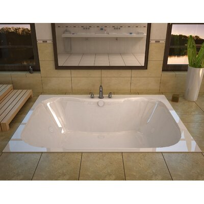 Dominica 59 x 40.5 Rectangular Whirlpool Jetted Bathtub with Center Drain