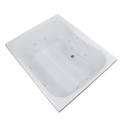 Dominica 58 x 40.5 Rectangular Whirlpool Jetted Bathtub with Center Drain