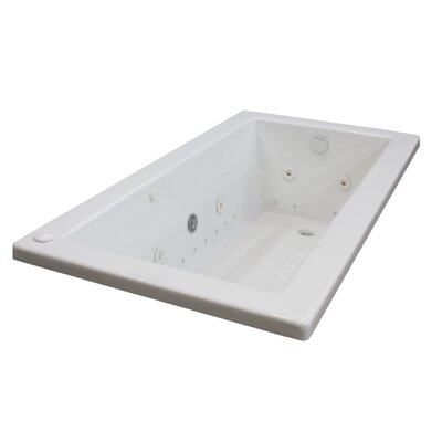 Guadalupe 72 x 42 Rectangular Air & Whirlpool Jetted Bathtub with Drain Drain Location: Right