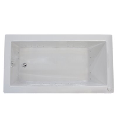 Guadalupe 72 x 42 Rectangular Air Jetted Bathtub with Drain Drain Location: Left