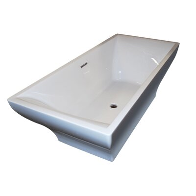 Madre 70.75 x 31.63 Freestanding One Piece Soaking Bathtub with Center Drain