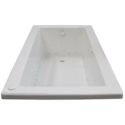 Guadalupe 71.63 x 32.5 Rectangular Air Jetted Bathtub with Drain Drain Location: Right