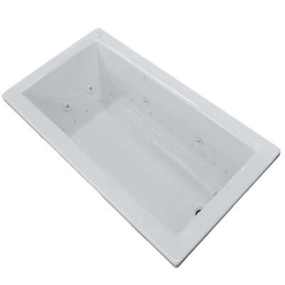 Guadalupe 59.25 x 36 Rectangular Air & Whirlpool Jetted Bathtub with Drain Drain Location: Right