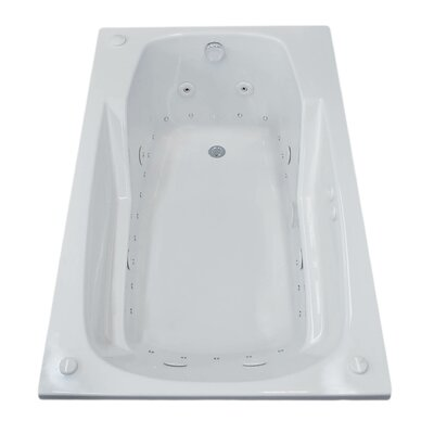Anguilla 59 x 31.75 Rectangular Air & Whirlpool Jetted Bathtub with Drain Drain Location: Right