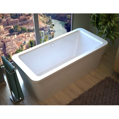 Buena 66.7 x 32 Rectangular Freestanding Soaking Bathtub with Center Drain