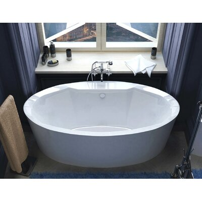 Salina 67.18 x 33.43 Oval Freestanding Soaker Bathtub with Center Drain