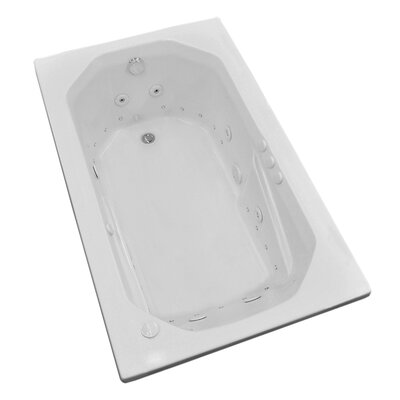 Montserrat 59.75 x 35.5 Rectangular Air & Whirlpool Jetted Bathtub with Drain Drain Location: Left