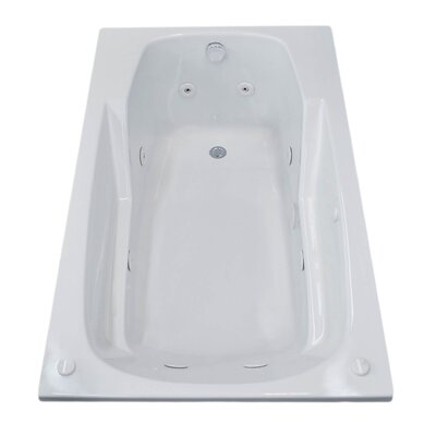 Anguilla 59 x 31.75 Rectangular Whirlpool Jetted Bathtub with Drain Drain Location: Right