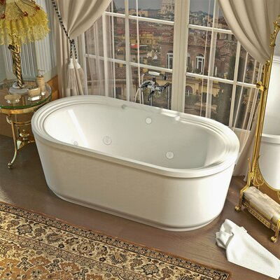 Royal 66.78 x 33.62 Oval Freestanding Soaking Jetted Bathtub with Center Drain