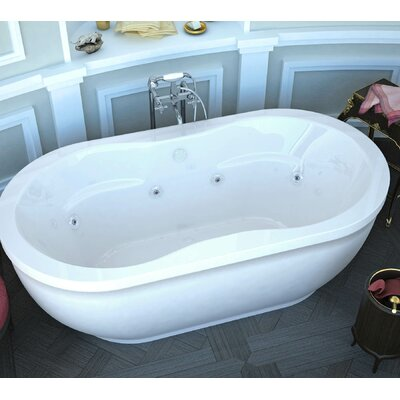 Vivara 71.25 x 35.87 Oval Freestanding Air & Whirlpool Water Jetted Bathtub with Center Drain