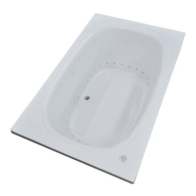 St. Kitts 71 x 41.25 Rectangular Air Jetted Bathtub with Drain Drain Location: Left