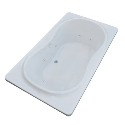 Cayman 71.5 x 35.5 Rectangular Whirlpool Jetted Bathtub with Center Drain
