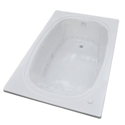 St. Lucia 71.5 x 47.63 Rectangular Air Jetted Bathtub with Drain Drain Location: Right