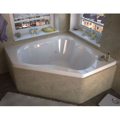 Tobago 59.25 x 59.25 Corner Whirlpool Jetted Bathtub with Center Drain