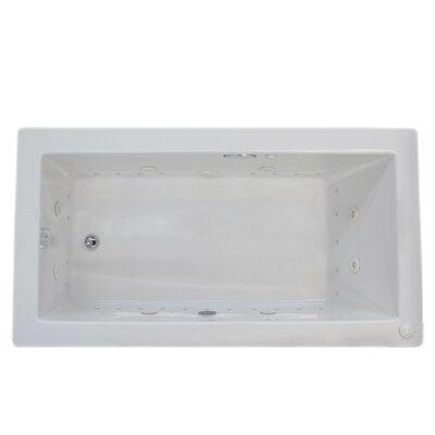 Guadalupe 72 x 42 Rectangular Air & Whirlpool Jetted Bathtub with Drain Drain Location: Left