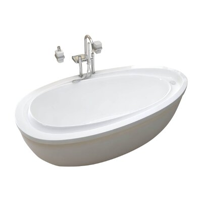 Capricia 71 x 38.75 Oval Freestanding Soaking Bathtub with Reversible Drain