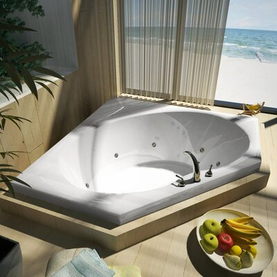 "Spa Escapes Tortola 60x60x23"" Corner Whirlpool Jetted Bathtub -Drain / Pump Location:ctr Drain / R Pump, Finish:White, Trim Finish:White at Sears.com"