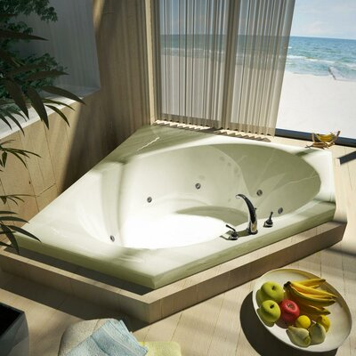 "Spa Escapes Tortola 60x60x23"" Corner Whirlpool Jetted Bathtub -Drain / Pump Location:ctr Drain / R Pump, Finish:Biscuit, Trim Finish:Biscuit at Sears.com"