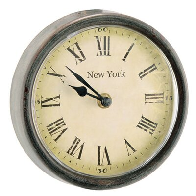 6.3 Wood / Glass New York Round Clock (Set of 2) Size: 6.3 W