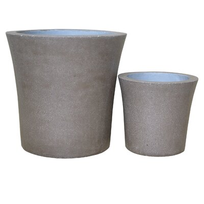2-Piece Stone Pot Planter Set Color: Brown